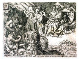 After the set of five plates, the story of the rich man and Lazarus. Lazarus in the arms of Abraham.