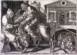 After a set of Four plates, the story of the Good Samaritan. The good Samaritan delivering the traveller into the care of the Innkeeper