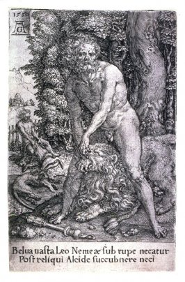 From a set of Thirteen plates, the deeds of Hercules. Hercules and the lion of Nemea.