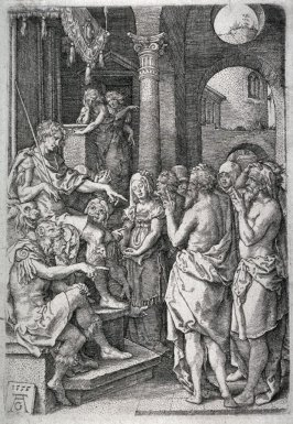 From the set of four plates, The story of Susanna. The two elders accusing Susanna before the Judge.