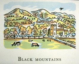 Black Mountains, 3rd illustration in the book An ABC Tour of Wales ( an alphabet book compiled by the artist) (Gregynog, Wales: Peter Allen, 1994)