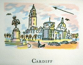 Cardiff, 4th illustration in the book An ABC Tour of Wales ( an alphabet book compiled by the artist) (Gregynog, Wales: Peter Allen, 1994)