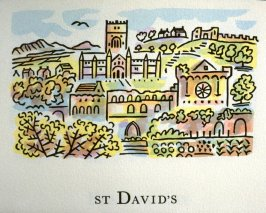 St. David's, 5th illustration in the book An ABC Tour of Wales ( an alphabet book compiled by the artist) (Gregynog, Wales: Peter Allen, 1994)