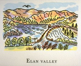 Elan Valley, 6th illustration in the book An ABC Tour of Wales ( an alphabet book compiled by the artist) (Gregynog, Wales: Peter Allen, 1994)