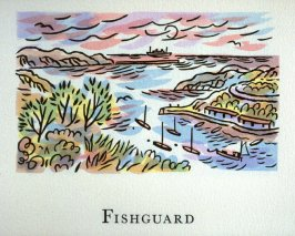 Fishguard, 7th illustration in the book An ABC Tour of Wales ( an alphabet book compiled by the artist) (Gregynog, Wales: Peter Allen, 1994)