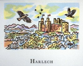 Harlech, 9th illustration in the book An ABC Tour of Wales ( an alphabet book compiled by the artist) (Gregynog, Wales: Peter Allen, 1994)