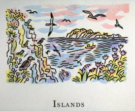 Islands, 10th illustration in the book An ABC Tour of Wales ( an alphabet book compiled by the artist) (Gregynog, Wales: Peter Allen, 1994)