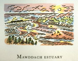 Mawddach Estuary, 14th illustration in the book An ABC Tour of Wales ( an alphabet book compiled by the artist) (Gregynog, Wales: Peter Allen, 1994)