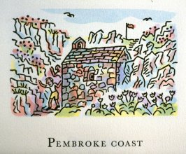 Pembroke Coast,17th illustration in the book An ABC Tour of Wales ( an alphabet book compiled by the artist) (Gregynog, Wales: Peter Allen, 1994)