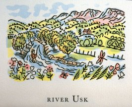 River Usk, 22nd illustration in the book An ABC Tour of Wales ( an alphabet book compiled by the artist) (Gregynog, Wales: Peter Allen, 1994)