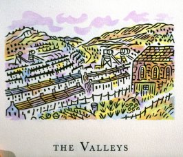 The Valleys, 23rd illustration in the book An ABC Tour of Wales ( an alphabet book compiled by the artist) (Gregynog, Wales: Peter Allen, 1994)