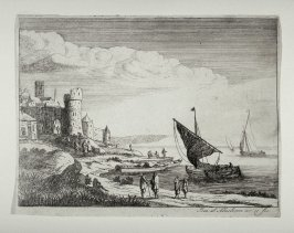 Landscape and sea with boats in a Port