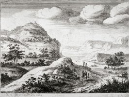 Hilly landscape with river and hill town