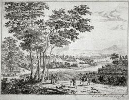 Landscape with River and mountains in the distance