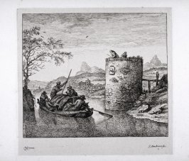 Landscape with river and boat and on right side tower