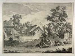 Landscape with three travellers resting before road side buildings