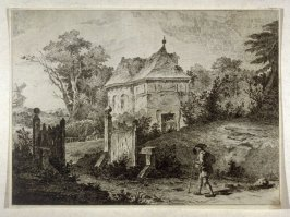 Landscape with country mansion and traveller entering gates