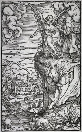 One illustration, Angel showing John the New Jerusalem from Latin Bible on back verses from Revelations