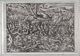 One of five illustrations, scenes of battle. of which 2 are certainly and all presumably from Flavious Josephus, History of the Jews