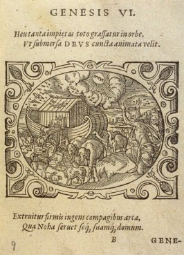 Genesis VI. Heu tanta impietas…, plate on folio B in the book Bibliorum utriusque testamenti icones… (Frankfort: [printed by Georgius Corvinus for Hieronymus Feyerabend], 1571)