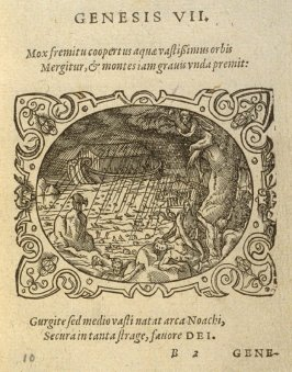 Genesis VII. Mox fremitu coopertus…, plate on folio B2 in the book Bibliorum utriusque testamenti icones… (Frankfort: [printed by Georgius Corvinus for Hieronymus Feyerabend], 1571)