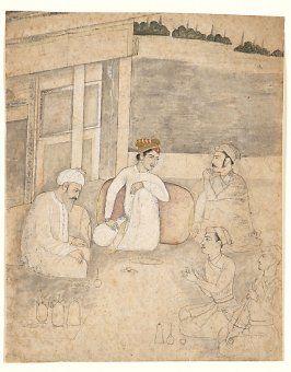 Untitled (Three Men Seated Outdoors Drinking Wine)