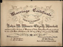 Marriage certificate of John M. Miner and Eliza H. Marlatt 5/30/1859