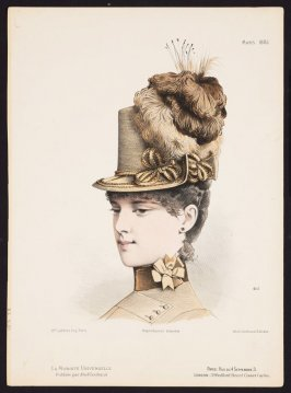 Untitled (Woman with Hat) from La Modiste Universelle, March 1885, no. 405