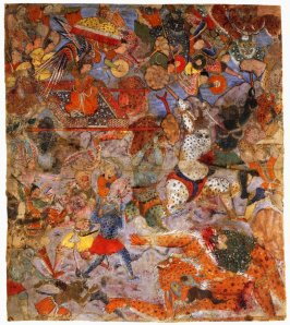 Battle between Hamza's Forces, Demons, and Fairies, a folio from a manuscript of the Hamza-nama
