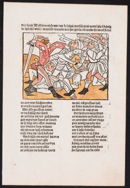 Wolfdietrich fights with King Marsilian, from Das Heldenbuch (Strasbourg: Johann Prüss, 1479)