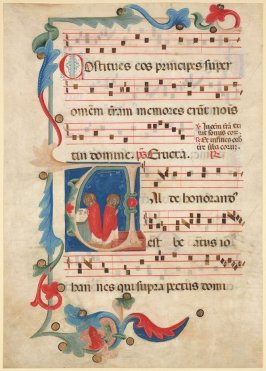Recto:Saints Celebrating Mass on a page of music from an unidentified Gradual