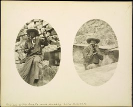 Recto: 2-photographs : Indian with snake; and deadly gila monsters