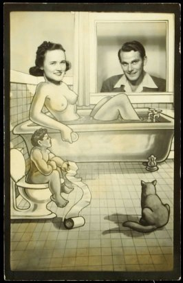Untitled (Photo collage of a couple in a bathroom)