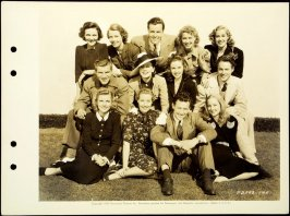 Publicity photograph of aspiring actors and actresses: William Henry, Robert Preston, Joseph Allen, William Holden, Ellen Drew, Evelyn Keyes, Janice Logan, Patricia Morison, Judith Barrett, Betty Field, Susan Hayward, Louise Campbell and Joyce Mathews