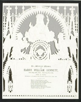Memorial Card for Harry William Bennett, (1868 - 1883)