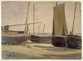 Boats on a Beach at Hastings; verso: St. Mary's at Hastings