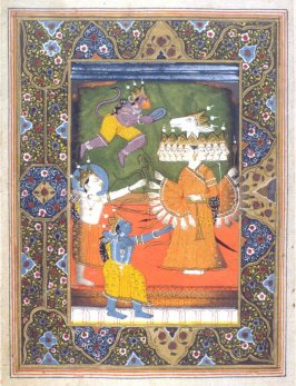 Rama and His Brother,Lakshman, Accompanied by Hanuman, Shooting the Demon Ravana, a page from an unidentified manuscript of the Ramayana