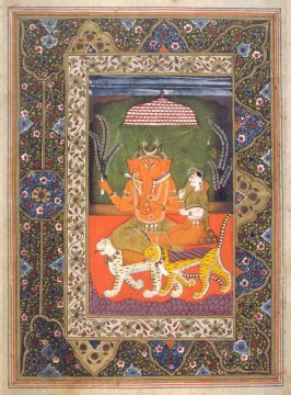 Ganesh and an Attendant Seated on Tigers, a page from an unidentified manuscript of the Ramayana