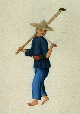 Man with stick and smoking pipe