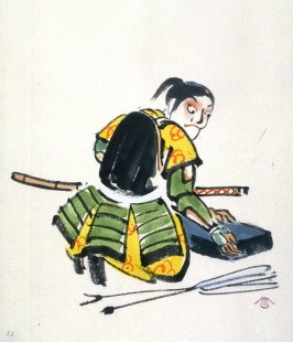 11. Young warrior with sharpening stone