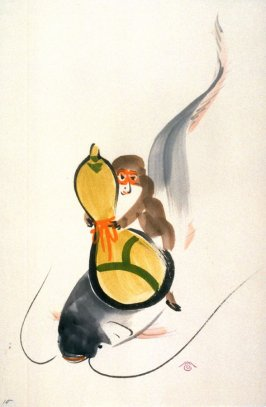 15. Monkey trying to catch a catfish with a gourd