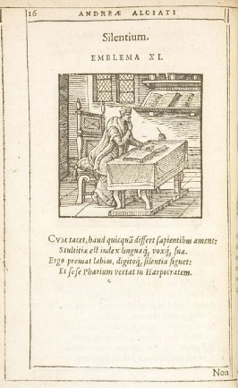 Silentium (Silence), emblem 11 in the book Emblemata by Andrea Alciato (Antwerp: Plantin [under the direction] of Raphelengius, 1608)