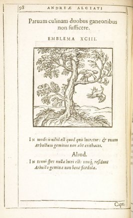 Parvam culinam duobus ganeonibus non sufficere (A small kitchen will not satisfy two gluttons), emblem 93 in the book Emblemata by Andrea Alciato (Antwerp: Plantin [under the direction] of Raphelengius, 1608)