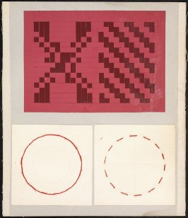 Kindergarten Album Collage: Red thread circles and woven red paper panels