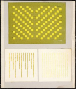 Kindergarten Album Collage: Yellow thread lines and woven yellow and green paper panels