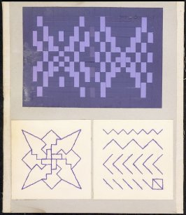 Kindergarten Album Collage: Purple thread stitch and star design panels, woven purple paper panel