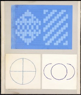 Kindergarten Album Collage: Blue thread circles and blue woven paper panels; three color thread designes: boy, bird, christmas wreef