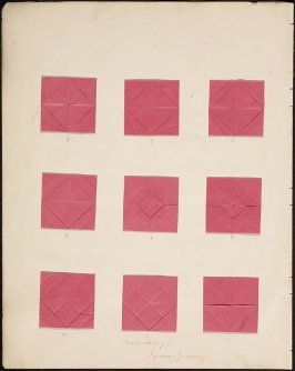 "Kindergarten Album Collage: Fifteen folded squares numbered red paper on retro and verso (""Forms of Beauty, 1st Sequence"" written at top of page)"