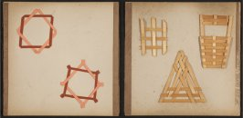 Kindergarten Album Collage: Three woven wood geometric shapes; two paper geometric shapes