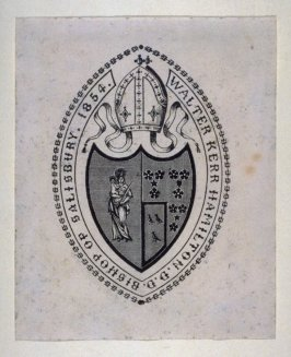 Bookplate for Walter Kerr Hamilton D.D. (Bishop of Salisbury, 1854)